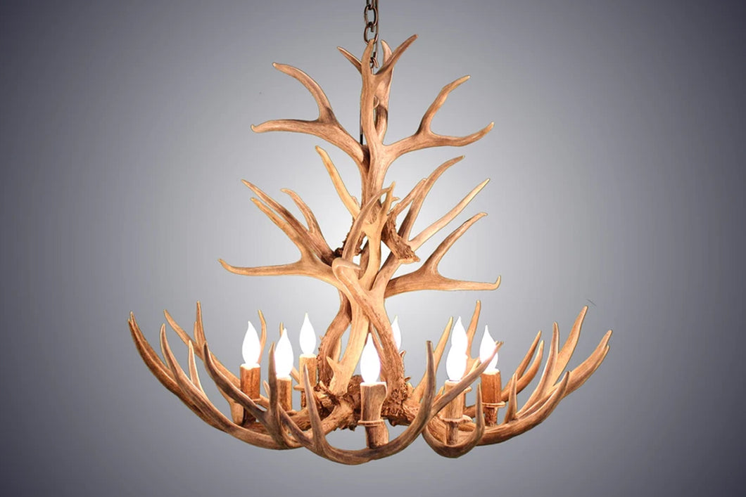 Antler Chandelier 8 Light Tall Mule Deer