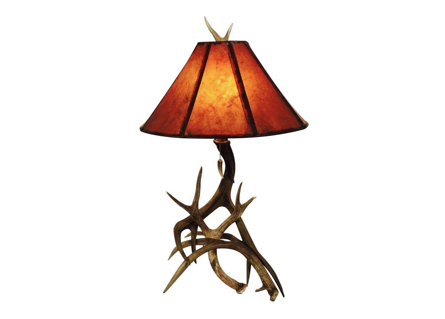 Antler Lamp - 3 Horn Mule Deer Table Lamp