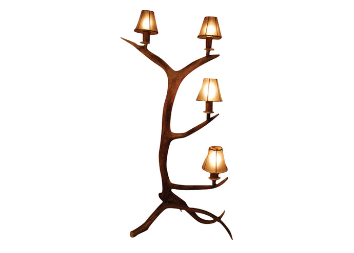 Antler Lamp - Elk Standing 4 Light Candelabra Floor Lamp