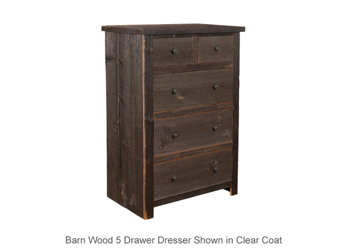 Barn Wood 5 Drawer Dresser