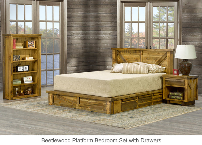 Beetlewood Platform Bed with Drawers is great for rustic cottage