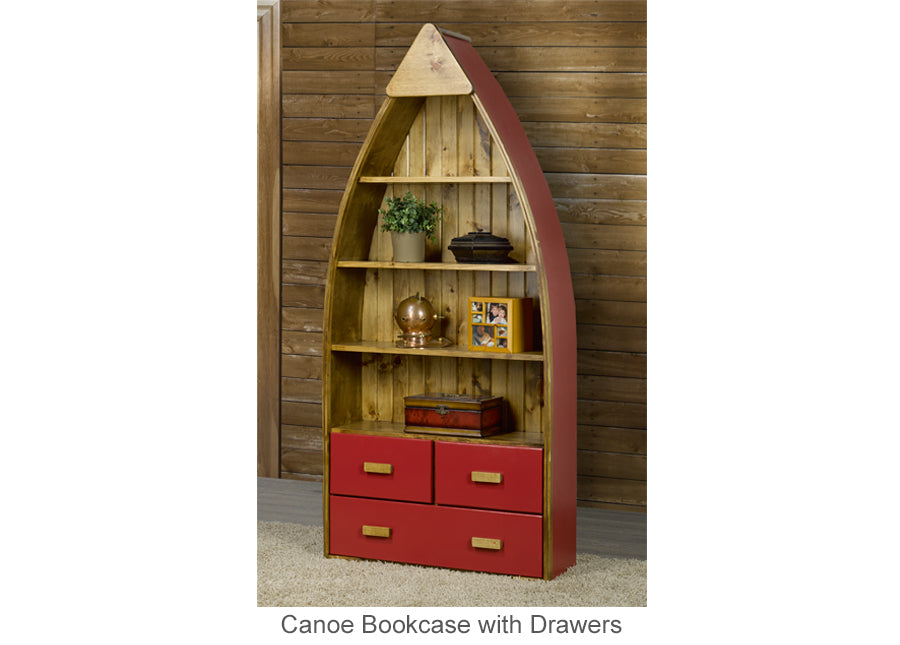 Canoe Bookcase with Drawers