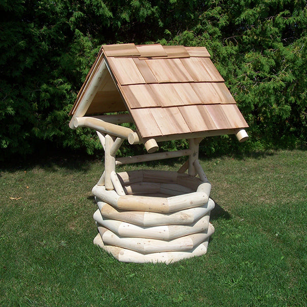 Cedar Log Wishing Well