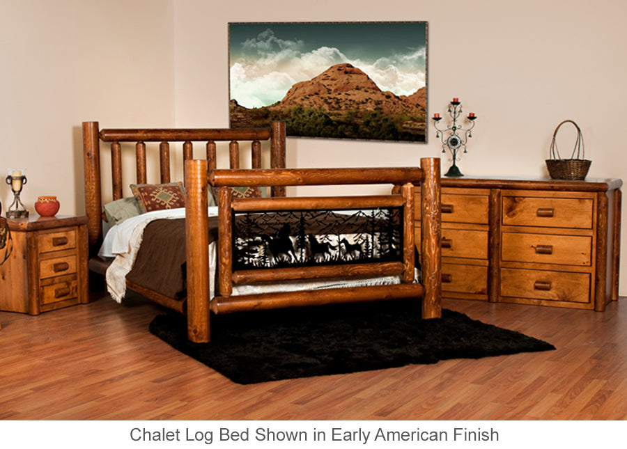 Chalet Log Bed with metal insert