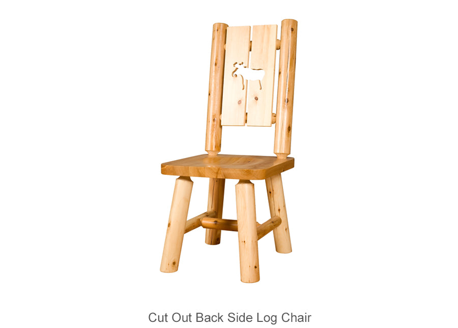 Cut Out Back Side Log Chair or Arm Log Chair