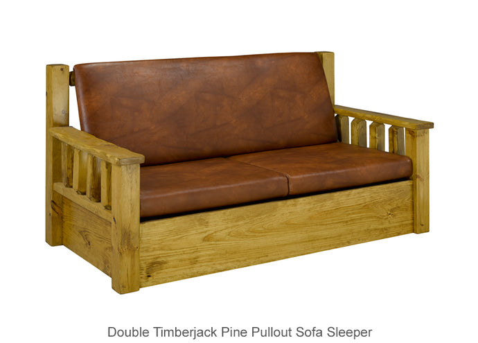 Double Timberjack Pine Pullout Sofa Sleeper