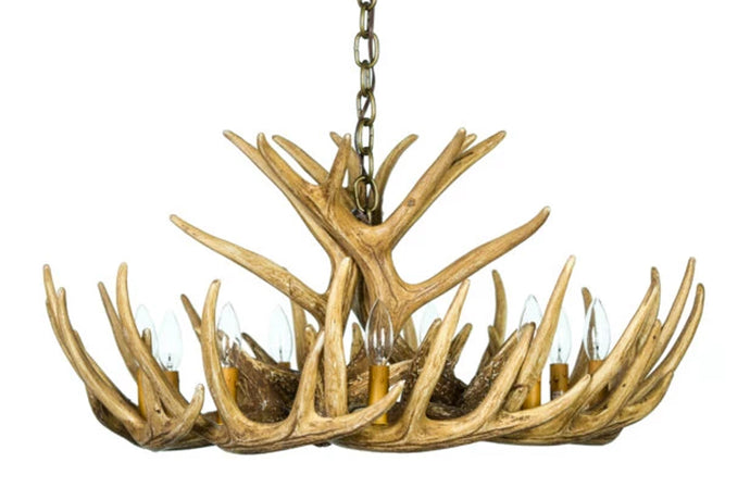 Faux Whitetail Deer 12 Antler Cascade Chandelier