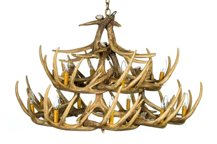 Faux Whitetail Deer 24 Antler Chandelier