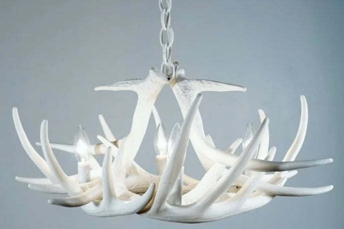 Faux Whitetail Deer 6 Antler Chandelier