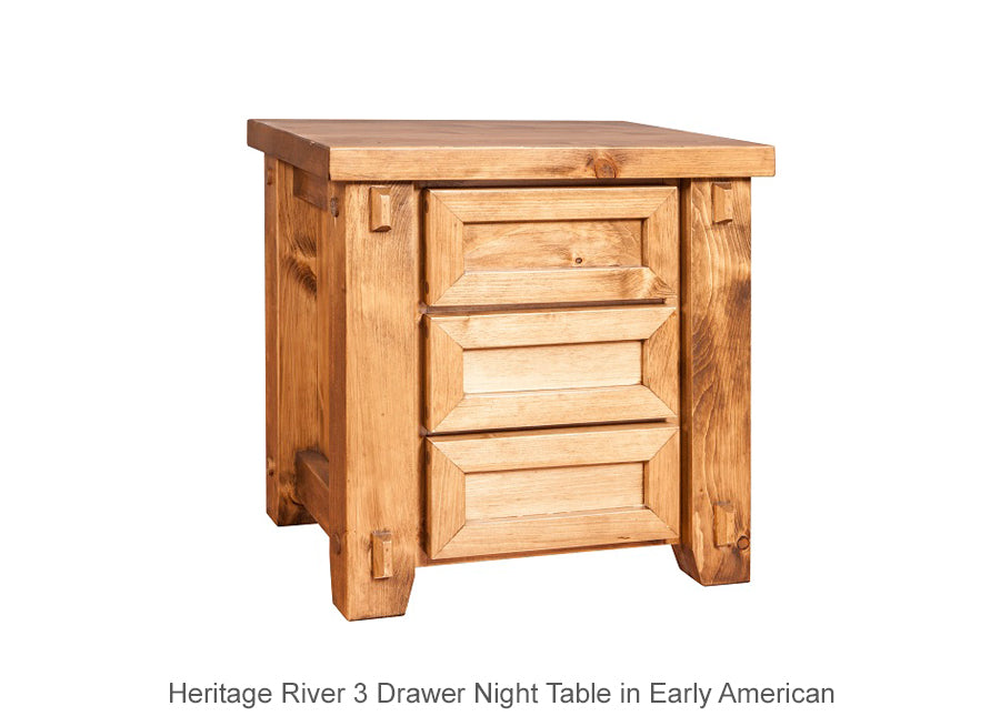 Heritage River 3 Drawer Night Table