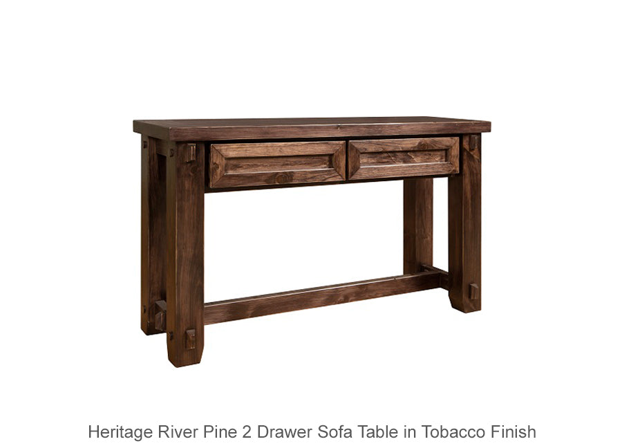 Heritage River Pine 2 Drawer Sofa Table