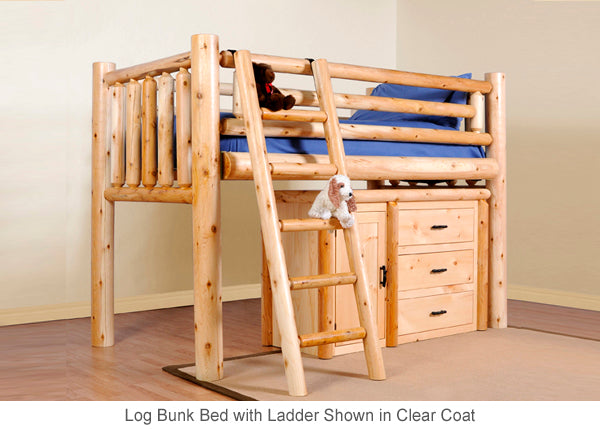 Log Loft Bed with Ladder great for kids