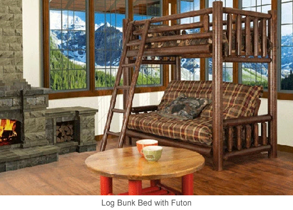 Log Bunk Bed with Futon is perfect for bunkies or cottages