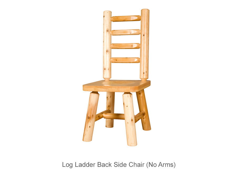 Log Ladder Back Side Chair (No Arms)