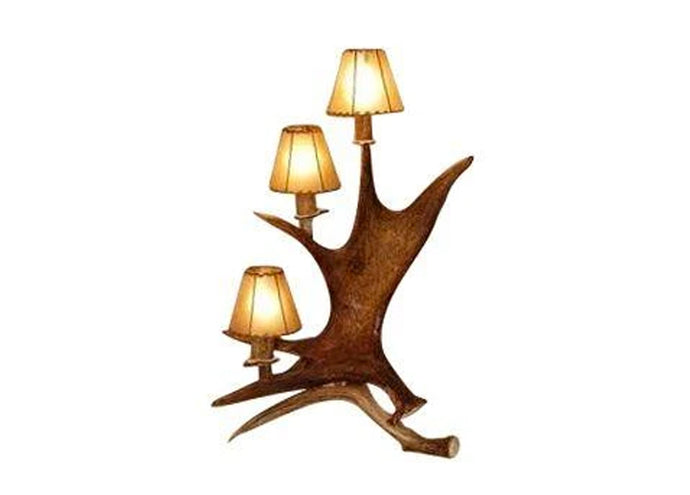 Antler Lamp - Moose Standing 3 Light Candelabra Table Lamp