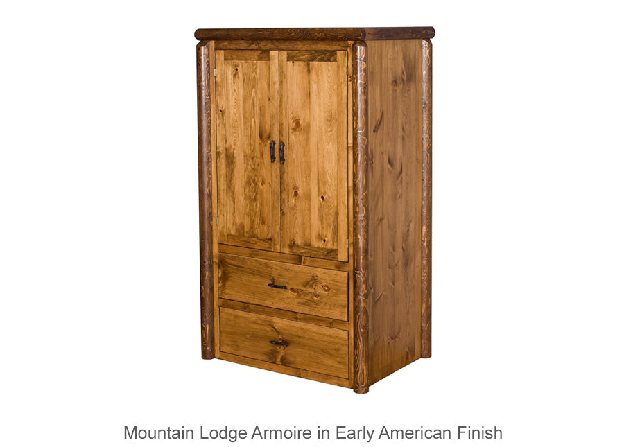 Mountain Lodge Armoire - 2 Drawers & Hanging Bar