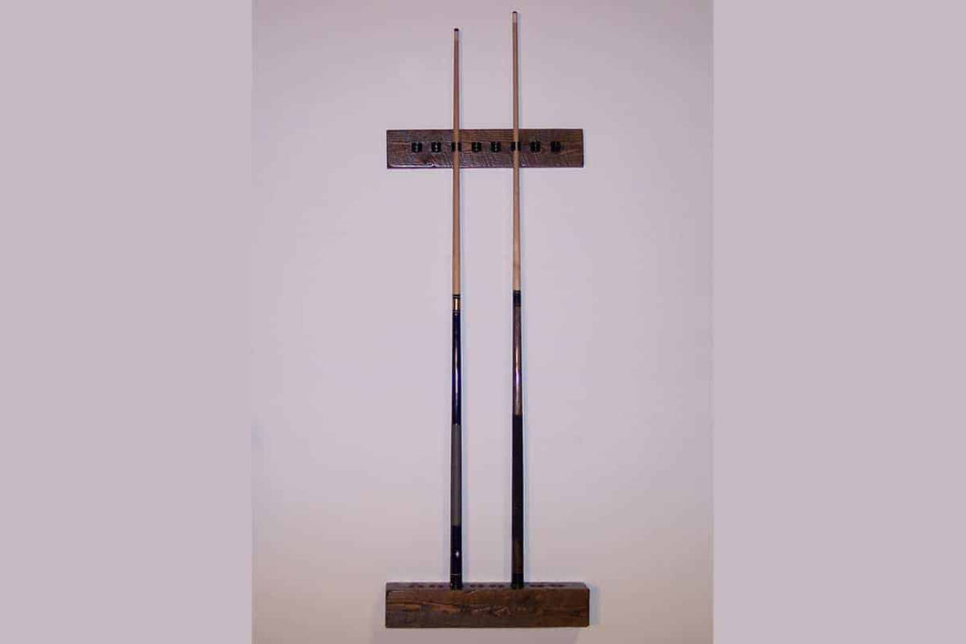 barnwood 2 piece wall cue rack