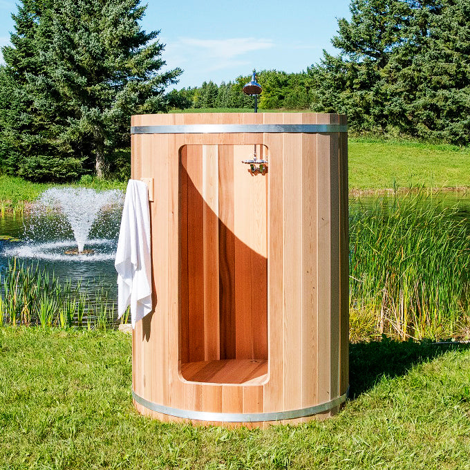 Outdoor Rainbow Cedar Barrel Shower