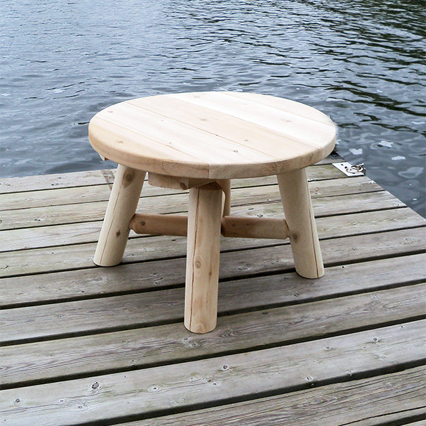 Outdoor Round Log End Table