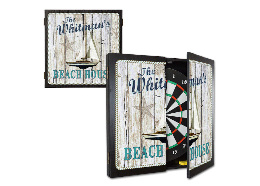 Personalized Beach House Dartboard & Cabinet Set