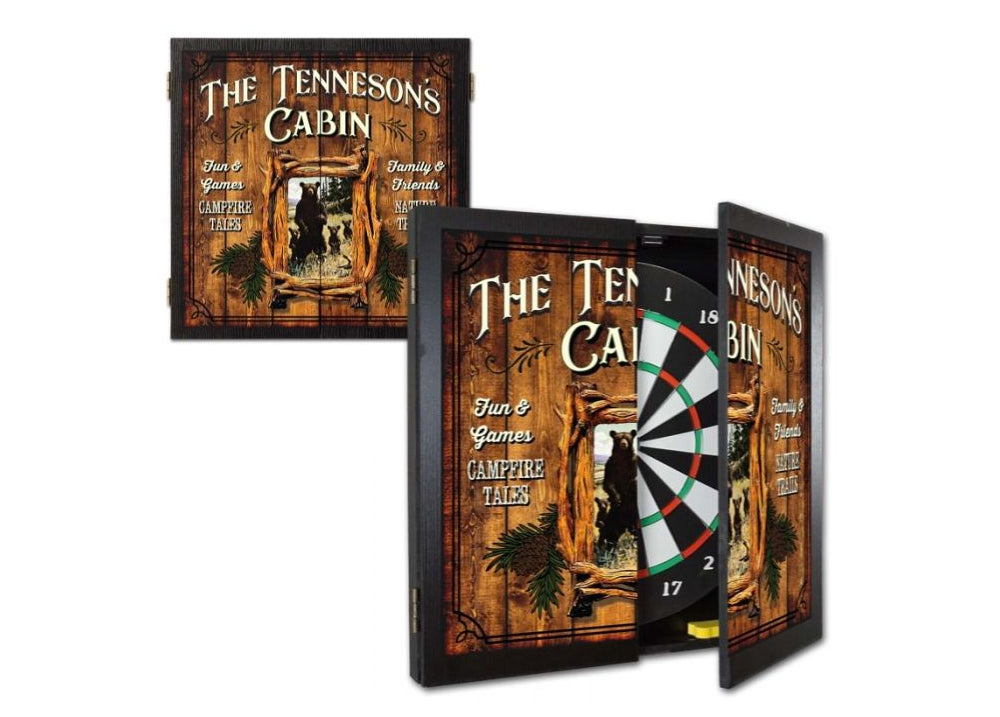 Personalized Cabin Dartboard & Cabinet Set