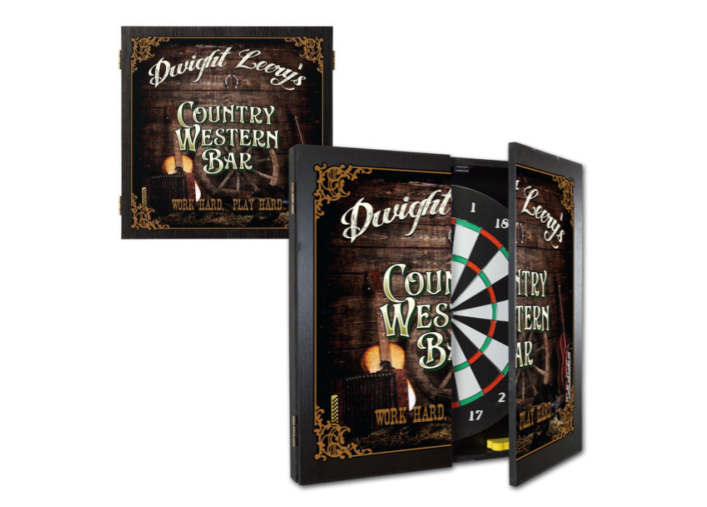 Personalized Country Western Dartboard & Cabinet Set