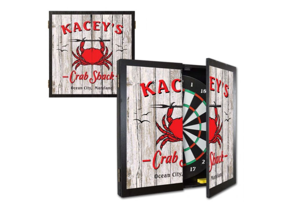 Personalized Crab Shack Dartboard & Cabinet Set