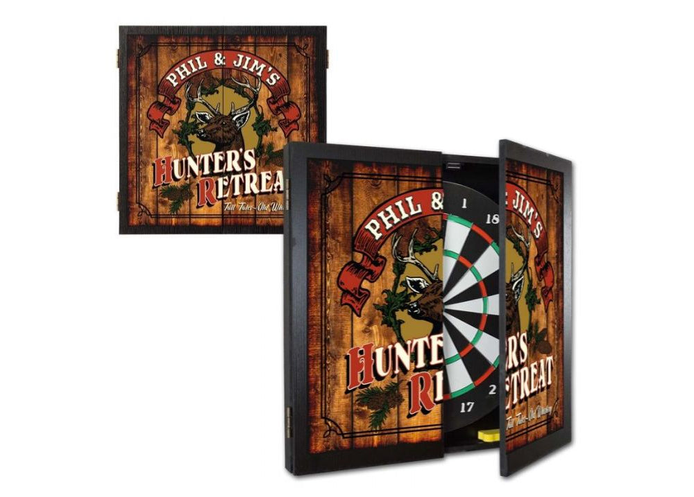 Personalized Hunters Retreat Dartboard & Cabinet Set