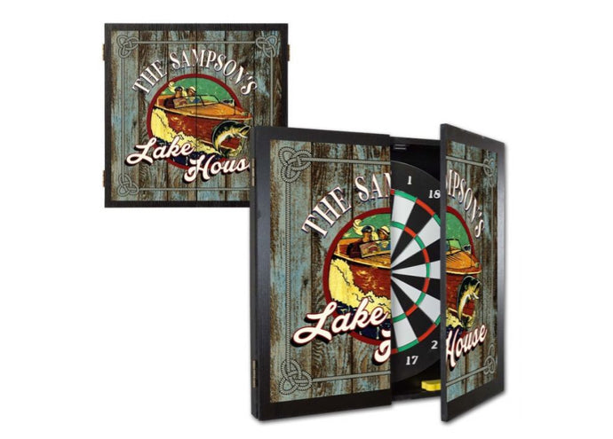 Personalized Lake House Dartboard & Cabinet Set