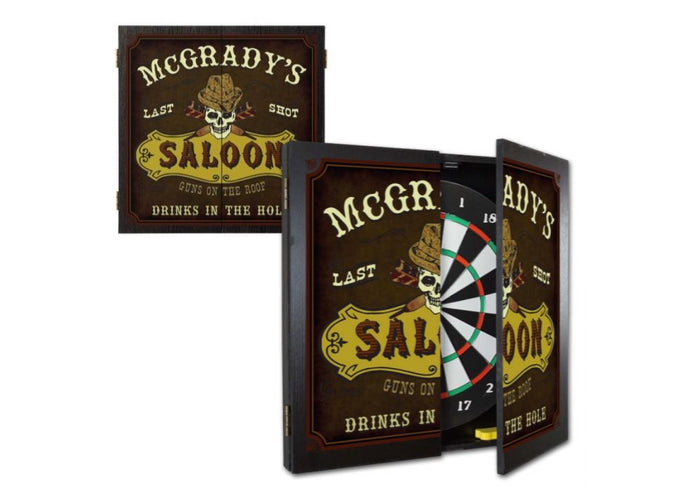Personalized Saloon Dartboard & Cabinet Set