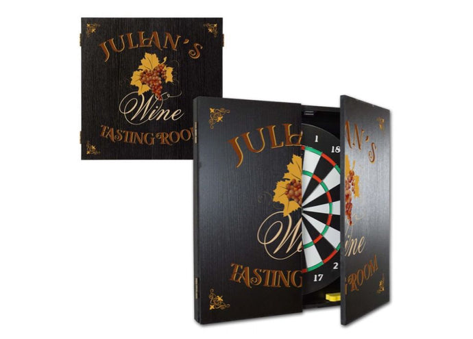 Personalized Tasting Room Dartboard & Cabinet Set