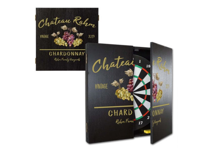 Personalized Vineyard Dartboard & Cabinet Set
