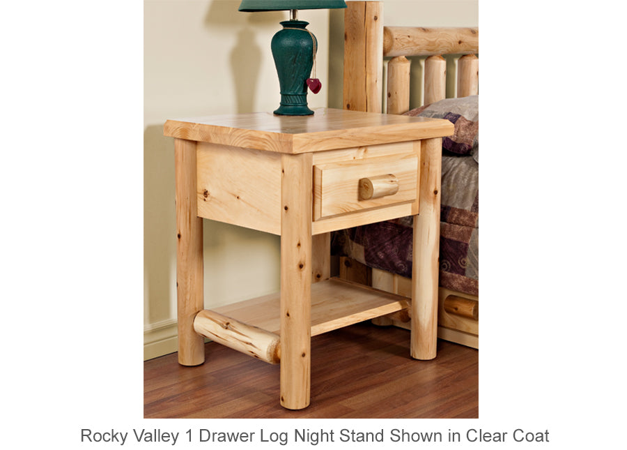 Rocky Valley 1 Drawer Log Night Stand