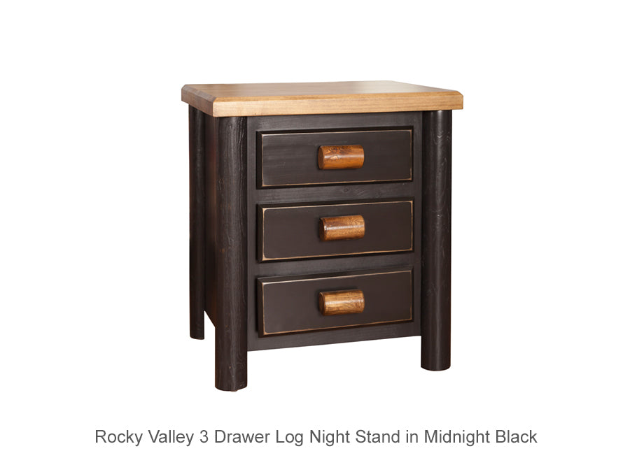 Rocky Valley 3 Drawer Log Night Stand