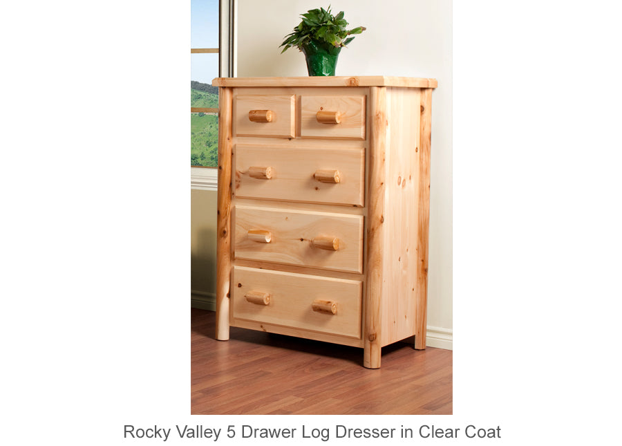 Rocky Valley 5 Drawer Log Dresser