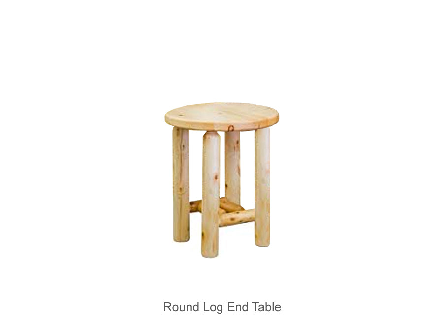 Round Log End Table