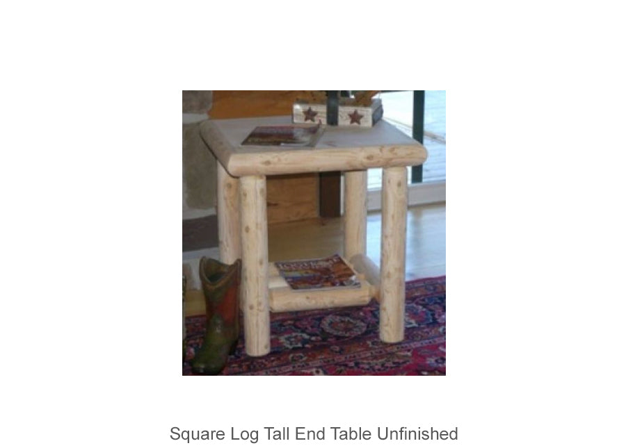 Square Log Tall End Table