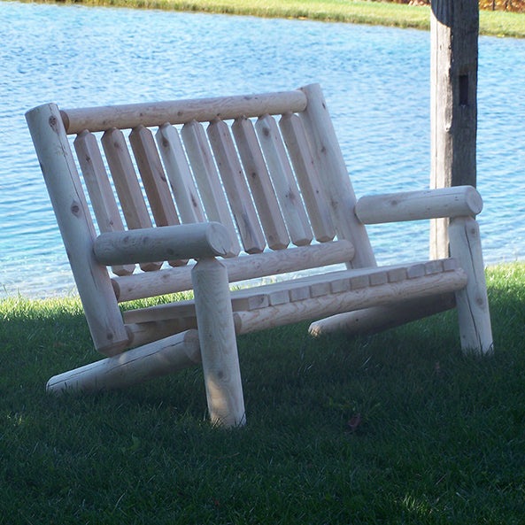 Standard Cedar Log Bench with Back