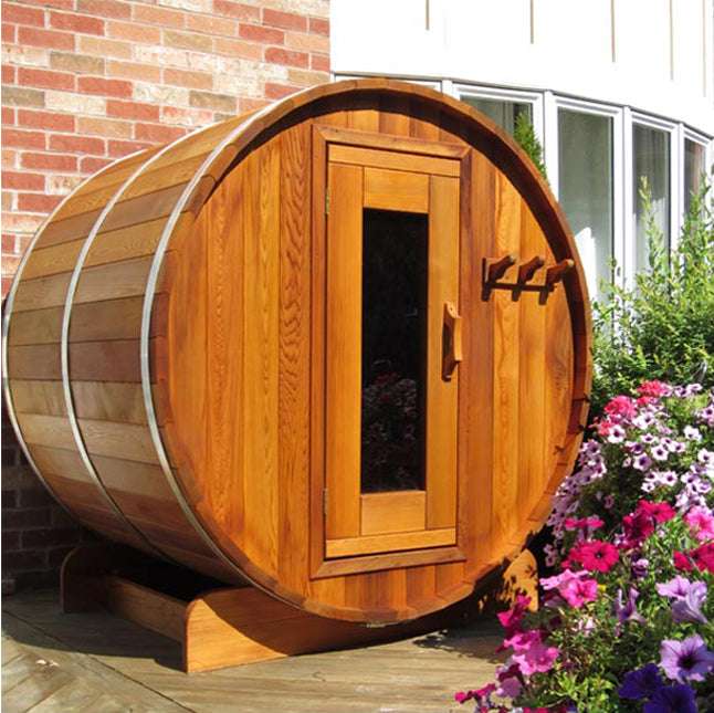The Northlake Outdoor Cedar Sauna 6' Dia x 7' Long