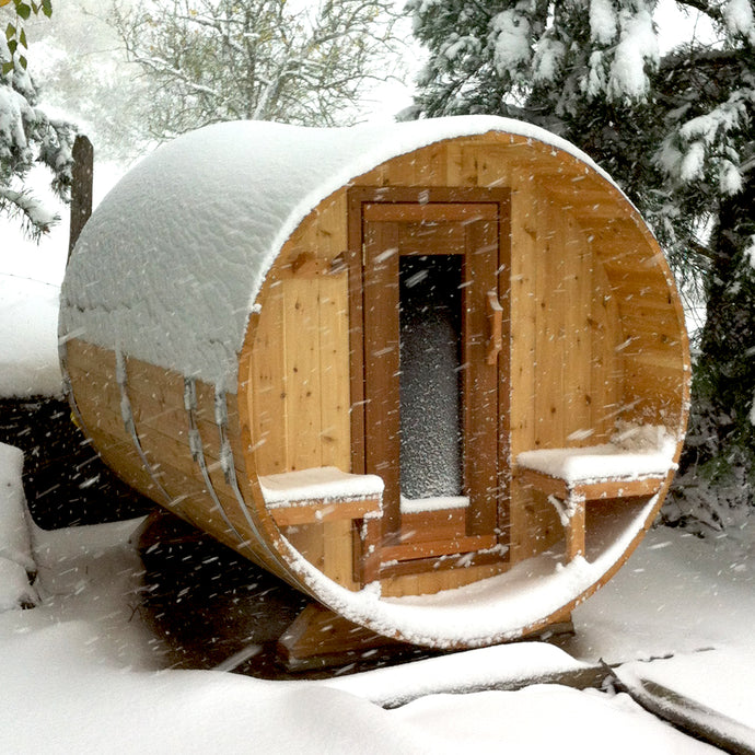 The Northwood Outdoor Cedar Sauna is  6' Dia x 7' Long