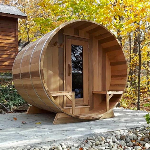 The Vermont Barrel Sauna is 7' Dia x 6' Long