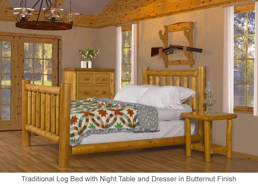 Traditional Log Bed in Butternut