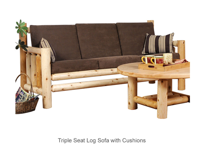 Triple Seat Log Sofa with Cushions