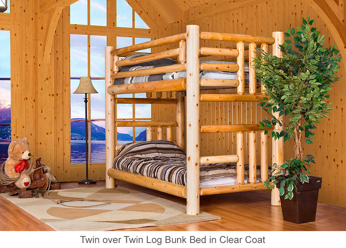 Log Bunk Bed for Cottage and Cabin