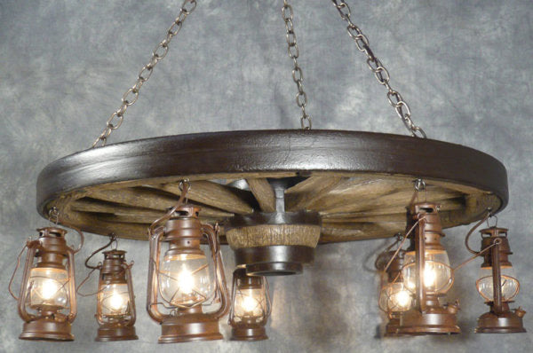 Large Wagon Wheel Chandelier