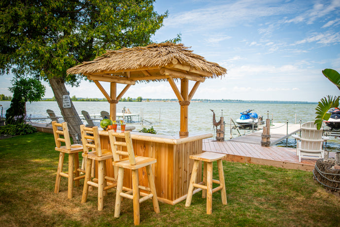 Tropical Paradise Tiki Bars with optional roof and stools