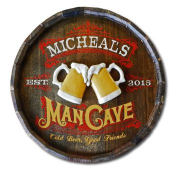 Man Cave Colour Quarter Barrel Sign