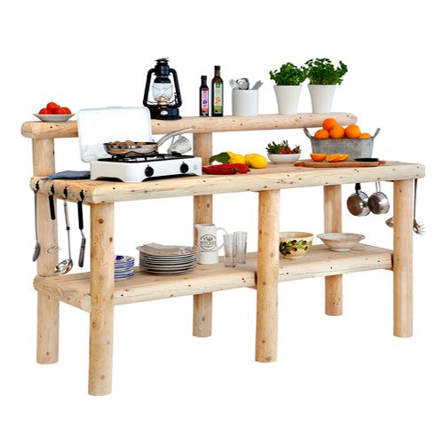 Rustic log outdoor kitchen from Log Furniture and More