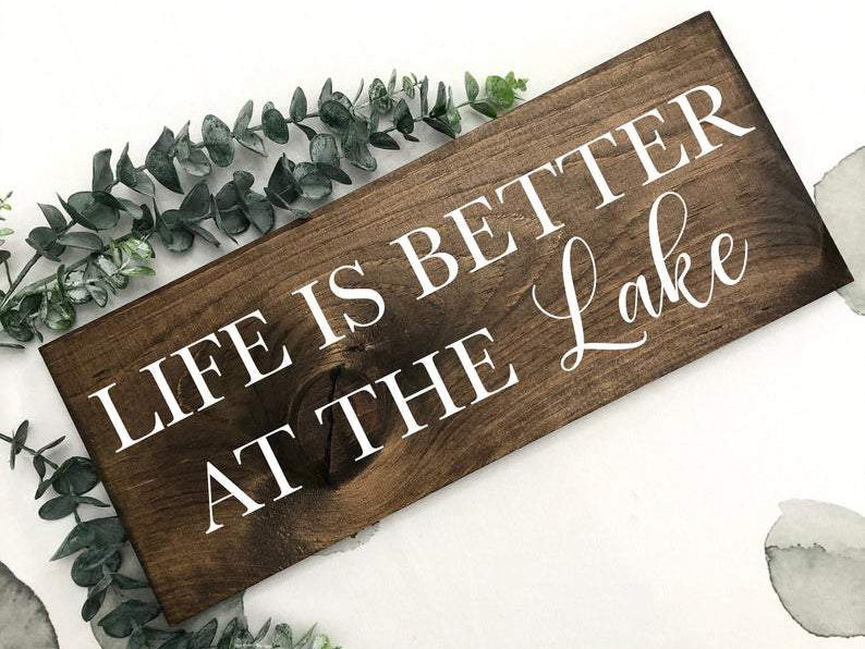 hand painted lake sign