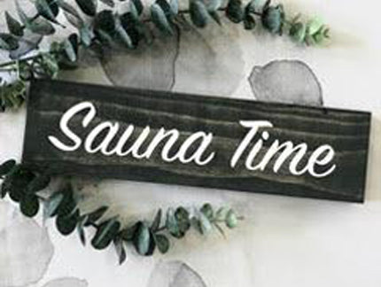 hand painted sauna time